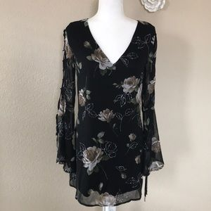 Lulus Black Floral Lace Up Bell Sleeve Dress